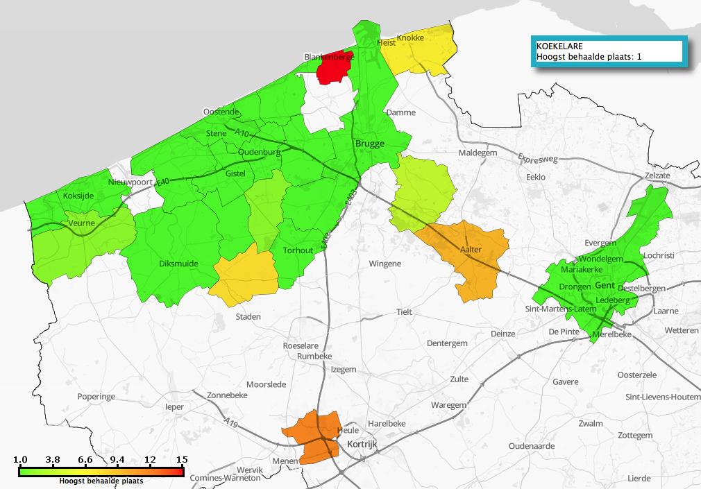 Topresultaten per gemeente (juni 2018)